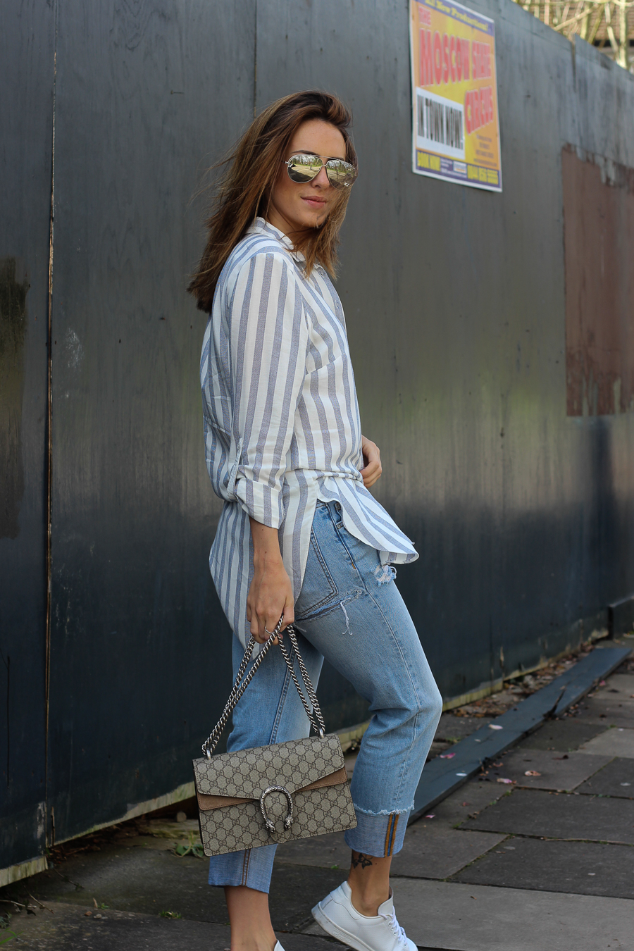 Clutch and carry on - uk fashion blogger - uk travel blogger - sabrina chakici - matalan striped shirt, all saints boyfriend jeans, gucci dionysus supreme-10