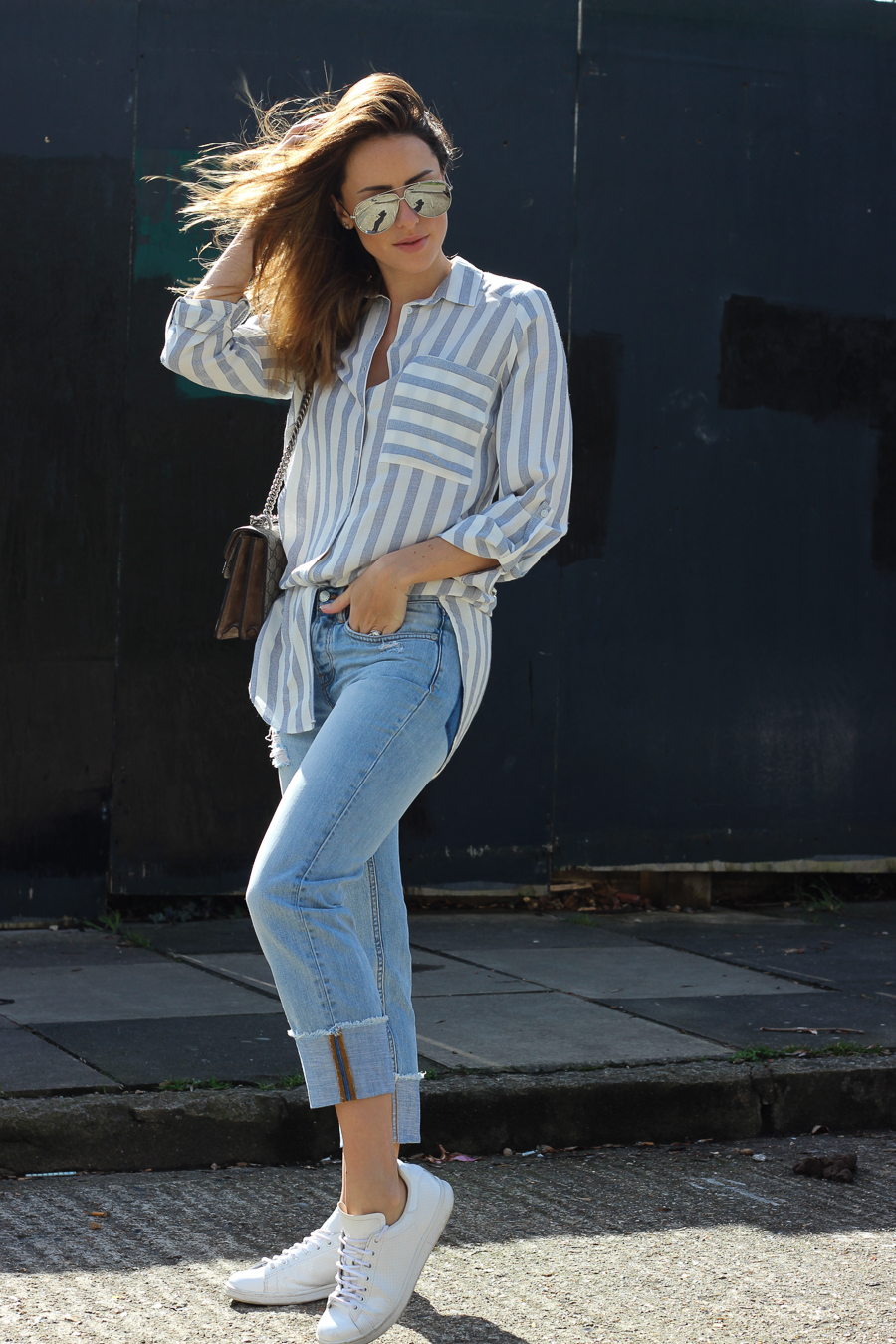 Clutch and carry on - uk fashion blogger - uk travel blogger - sabrina chakici - matalan striped shirt, all saints boyfriend jeans, gucci dionysus supreme-11