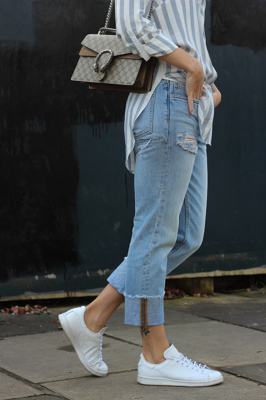 Clutch and carry on - uk fashion blogger - uk travel blogger - sabrina chakici - matalan striped shirt, all saints boyfriend jeans, gucci dionysus supreme-14