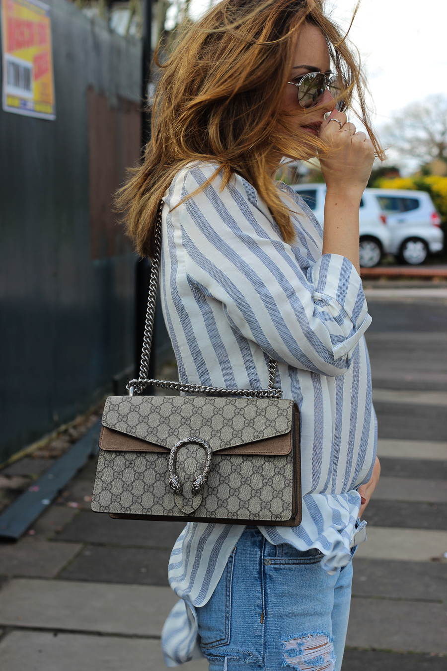 Clutch and carry on - uk fashion blogger - uk travel blogger - sabrina chakici - matalan striped shirt, all saints boyfriend jeans, gucci dionysus supreme-17
