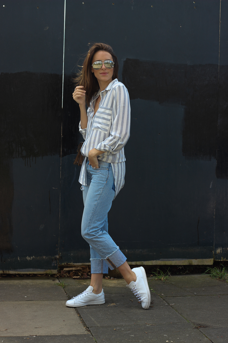 Clutch and carry on - uk fashion blogger - uk travel blogger - sabrina chakici - matalan striped shirt, all saints boyfriend jeans, gucci dionysus supreme-4
