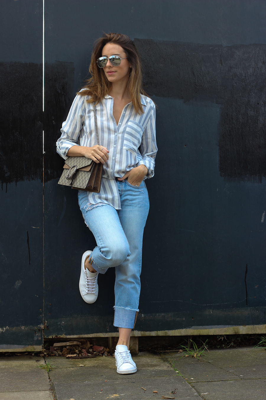 Clutch and carry on - uk fashion blogger - uk travel blogger - sabrina chakici - matalan striped shirt, all saints boyfriend jeans, gucci dionysus supreme-5
