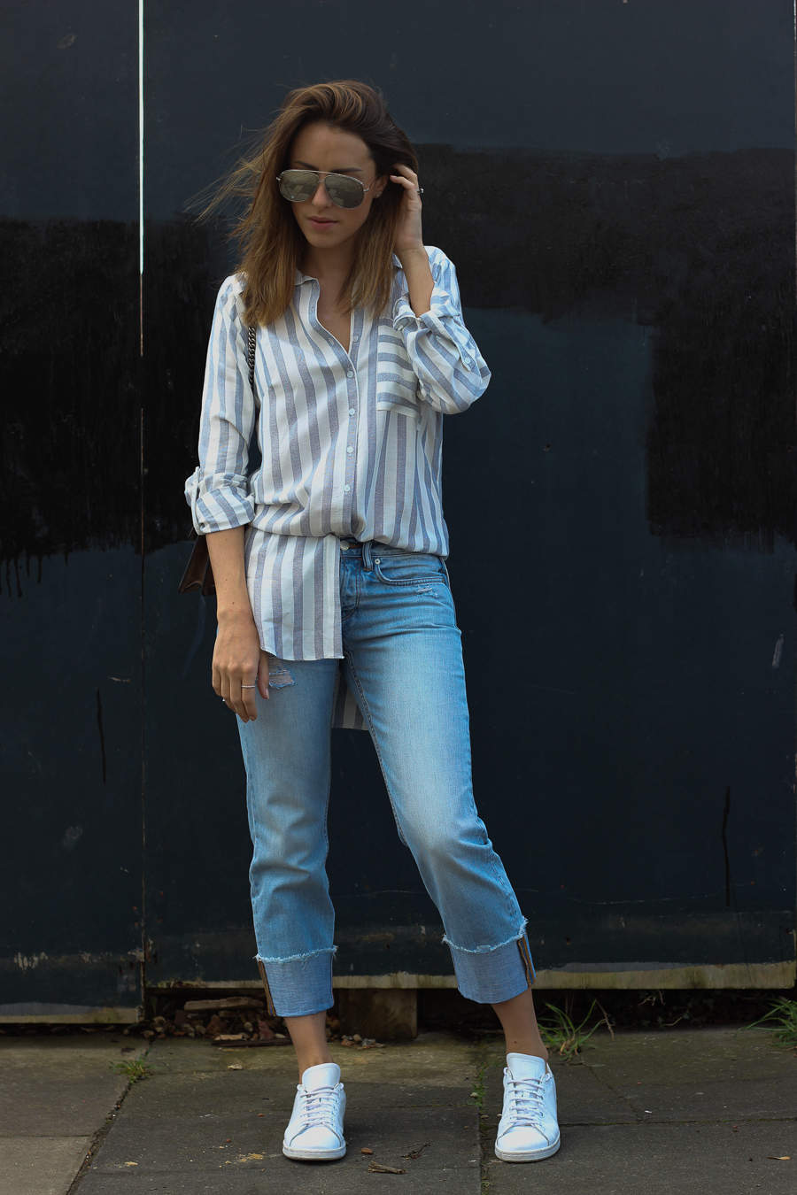 Clutch and carry on - uk fashion blogger - uk travel blogger - sabrina chakici - matalan striped shirt, all saints boyfriend jeans, gucci dionysus supreme-6