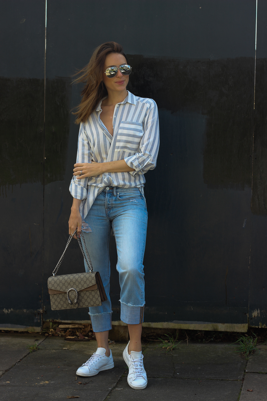 Clutch and carry on - uk fashion blogger - uk travel blogger - sabrina chakici - matalan striped shirt, all saints boyfriend jeans, gucci dionysus supreme-9