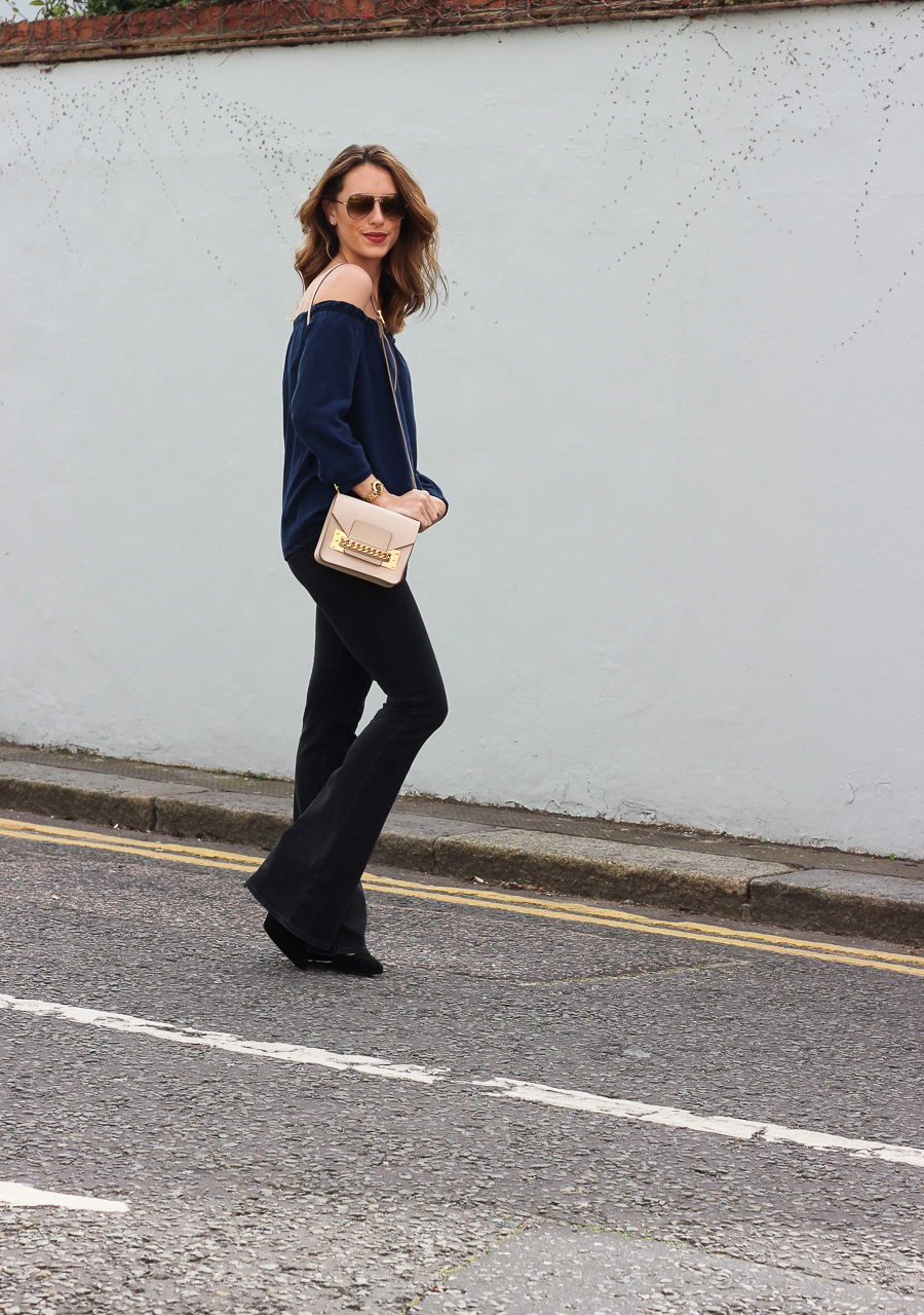 Clutch and carry on - uk fashion blogger - uk travel blogger - sabrina chakici - mango off shoulder top, london street style, sophie hulme oat-25