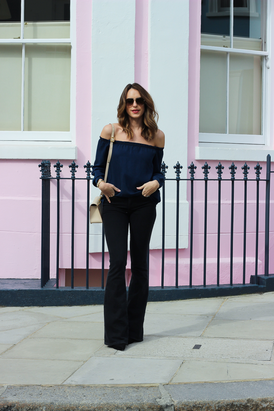 Clutch and carry on - uk fashion blogger - uk travel blogger - sabrina chakici - mango off shoulder top, london street style, sophie hulme oat-27