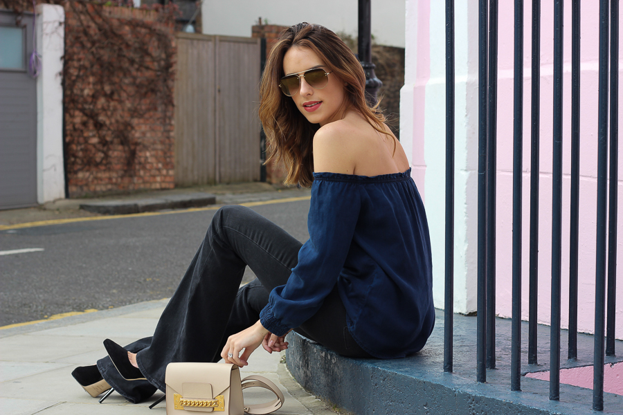 Clutch and carry on - uk fashion blogger - uk travel blogger - sabrina chakici - mango off shoulder top, london street style, sophie hulme oat-33