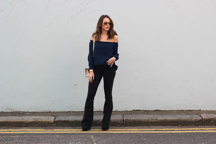 Clutch and carry on - uk fashion blogger - uk travel blogger - sabrina chakici - mango off shoulder top, london street style, sophie hulme oat-8