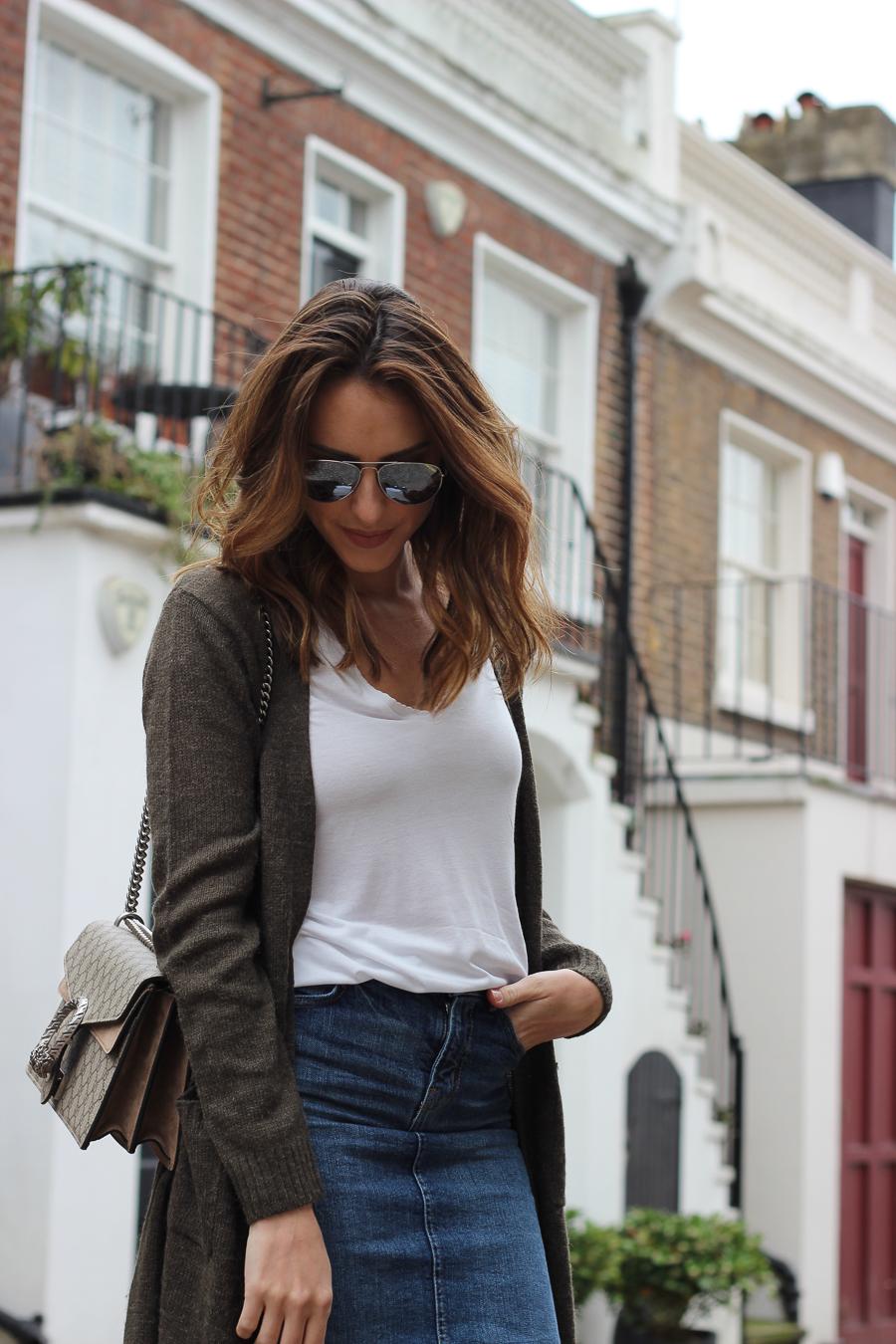 Clutch and carry on - uk fashion blogger - uk travel blogger - sabrina chakici - matalan cardigan, zara denim midi skirt, gucci dionysus supreme-3
