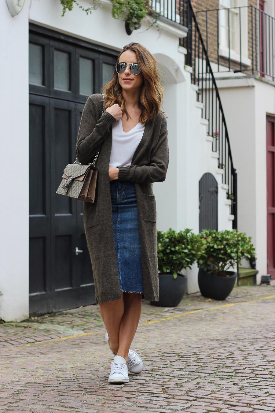 Clutch and carry on - uk fashion blogger - uk travel blogger - sabrina chakici - matalan cardigan, zara denim midi skirt, gucci dionysus supreme-5