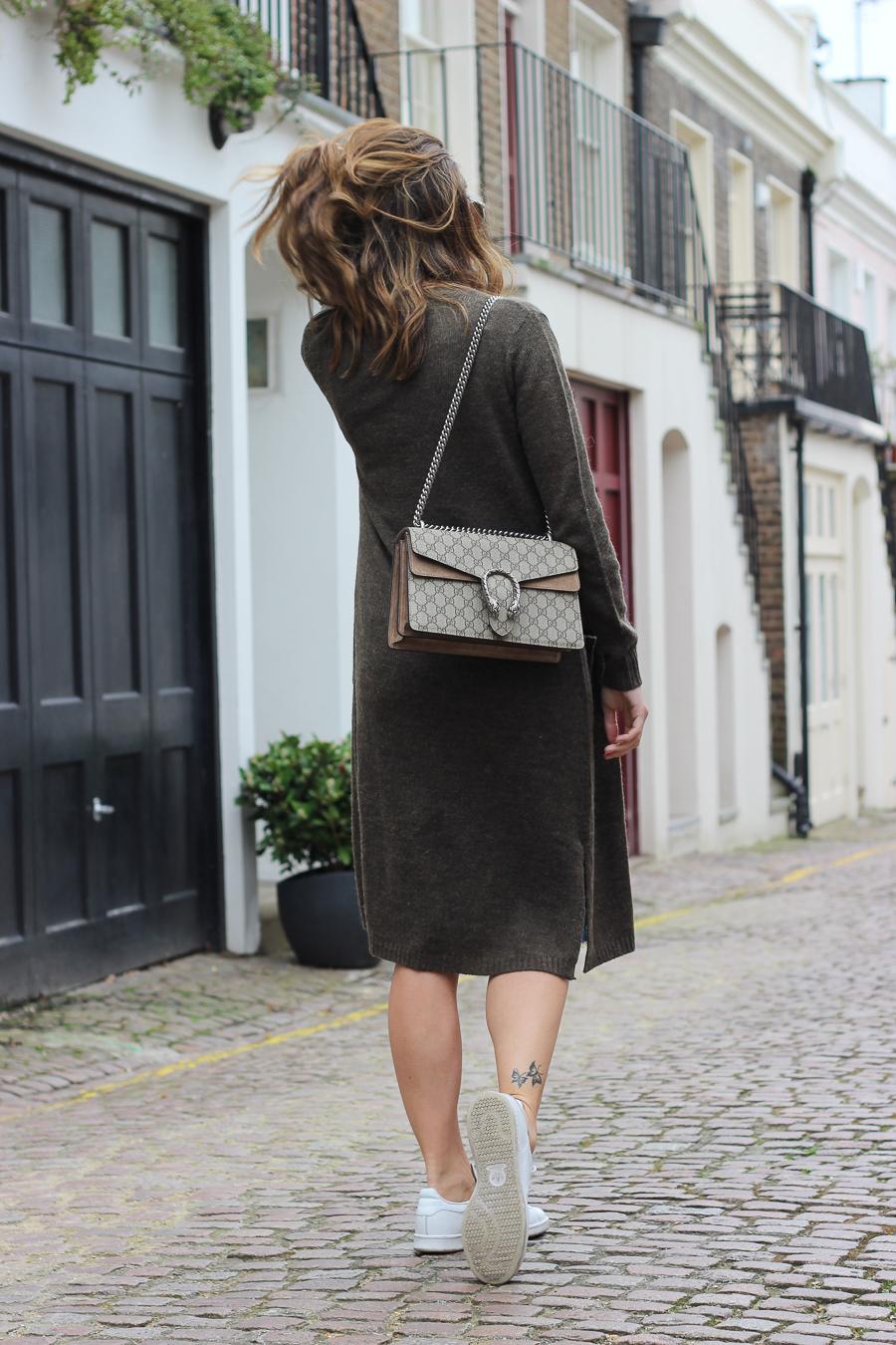 Clutch and carry on - uk fashion blogger - uk travel blogger - sabrina chakici - matalan cardigan, zara denim midi skirt, gucci dionysus supreme-7