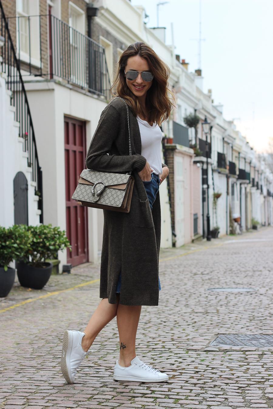 Clutch and carry on - uk fashion blogger - uk travel blogger - sabrina chakici - matalan cardigan, zara denim midi skirt, gucci dionysus supreme-8
