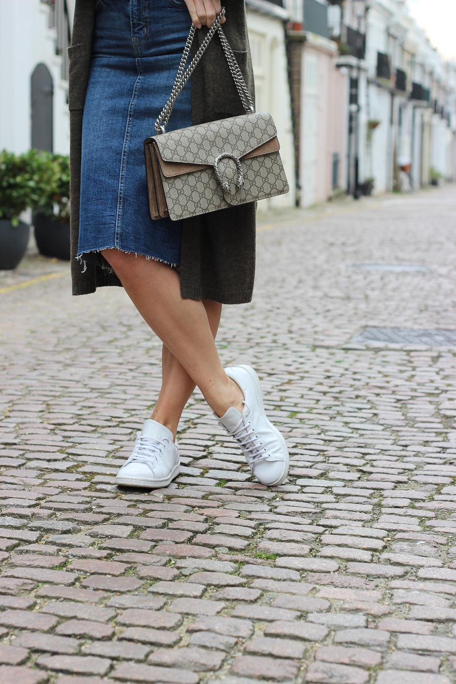Clutch and carry on - uk fashion blogger - uk travel blogger - sabrina chakici - matalan cardigan, zara denim midi skirt, gucci dionysus supreme-9